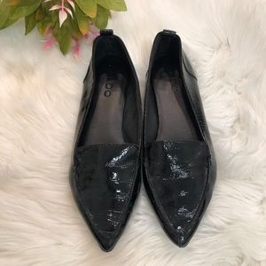 ALDO Black Leather Pointed Toe Flats 8.5